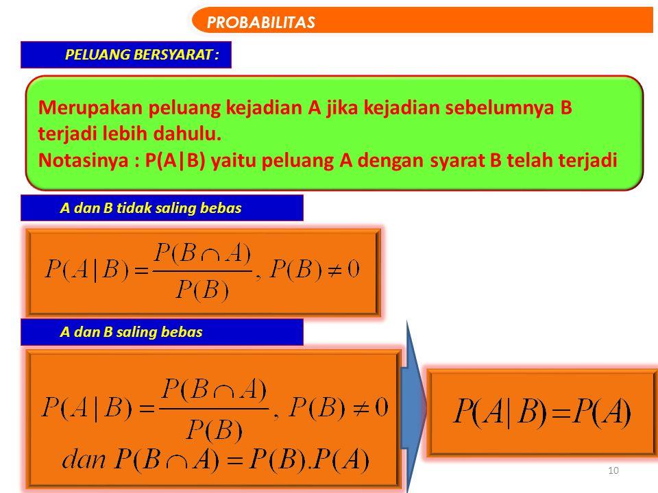10 PELUANG BERSYARAT : Merupakan peluang kejadian A jika kejadian sebelumnya B terjadi lebih dahulu. Notasinya : P(A|B) yaitu peluang A dengan syarat