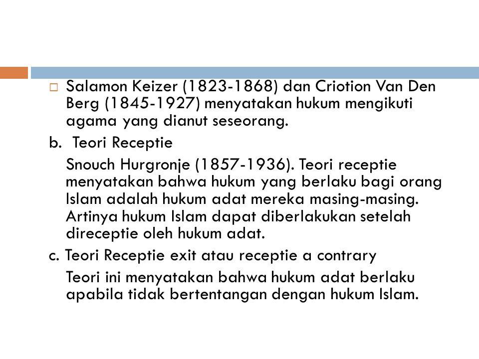  Statuta Batavia 1642 menyebutkan bahwa sengketa antara orang pribumi yang beragama Islam harus diselesaikan dengan mempergunakan hukum Islam, yakni