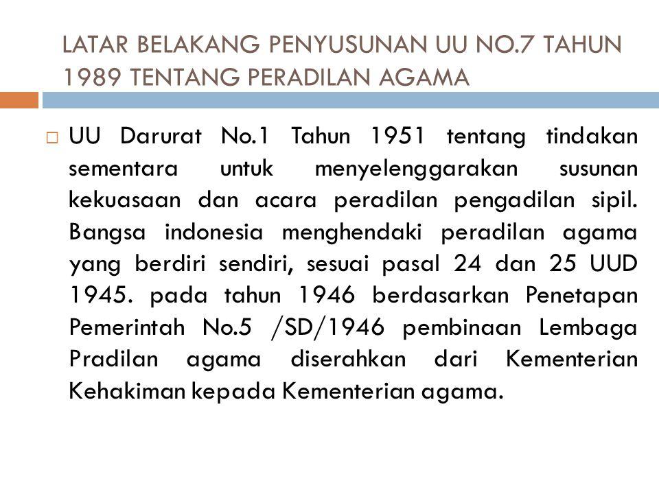 a. Keluarnya UU No. 22 tahun 1946 tentang pencatatan pernikahan, talak, dan rujuk menggantikan ordonansi NTR terdahulu. b. Keluarnya penetapan Menteri