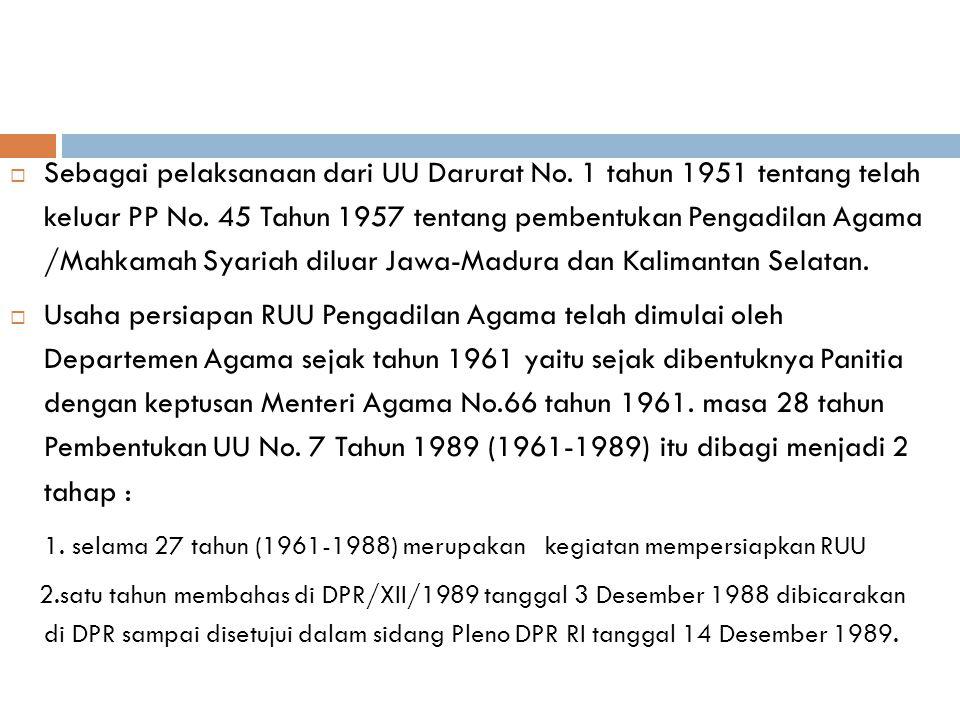 LATAR BELAKANG PENYUSUNAN UU NO.7 TAHUN 1989 TENTANG PERADILAN AGAMA  UU Darurat No.1 Tahun 1951 tentang tindakan sementara untuk menyelenggarakan su