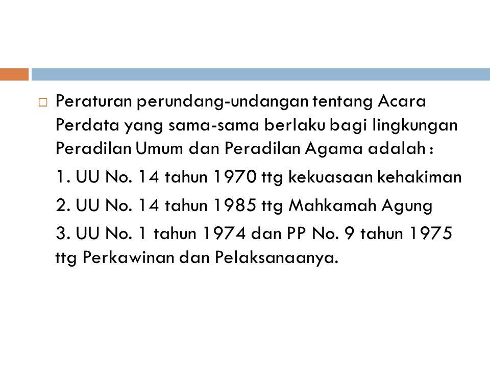  Hukum Acara Peradilan Agama bersumber (garis besarnya) kepada dua aturan, yaitu: (1) yang terdapat dalam UU No. 7 tahun 1989, dan (2) yang berlaku d