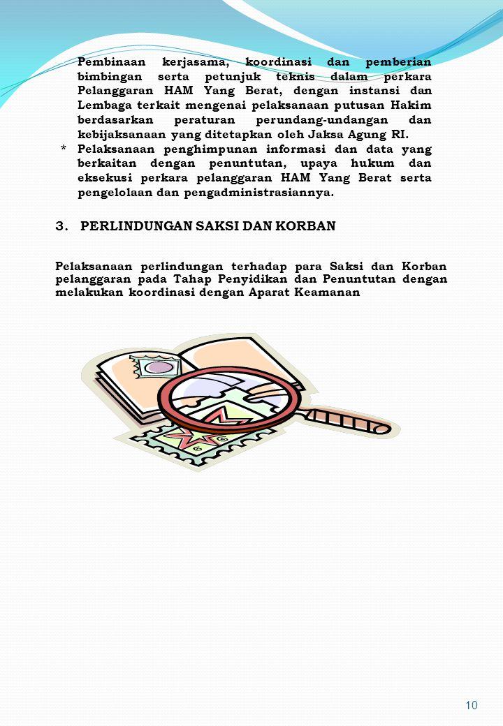 9 Direktorat PERAN HAM Kejaksaan R.I menjalankan fungsi yang pada pokoknya : * Pelaksanaan penerimaan, analisis dan penelitian terhadap hasil penyelid