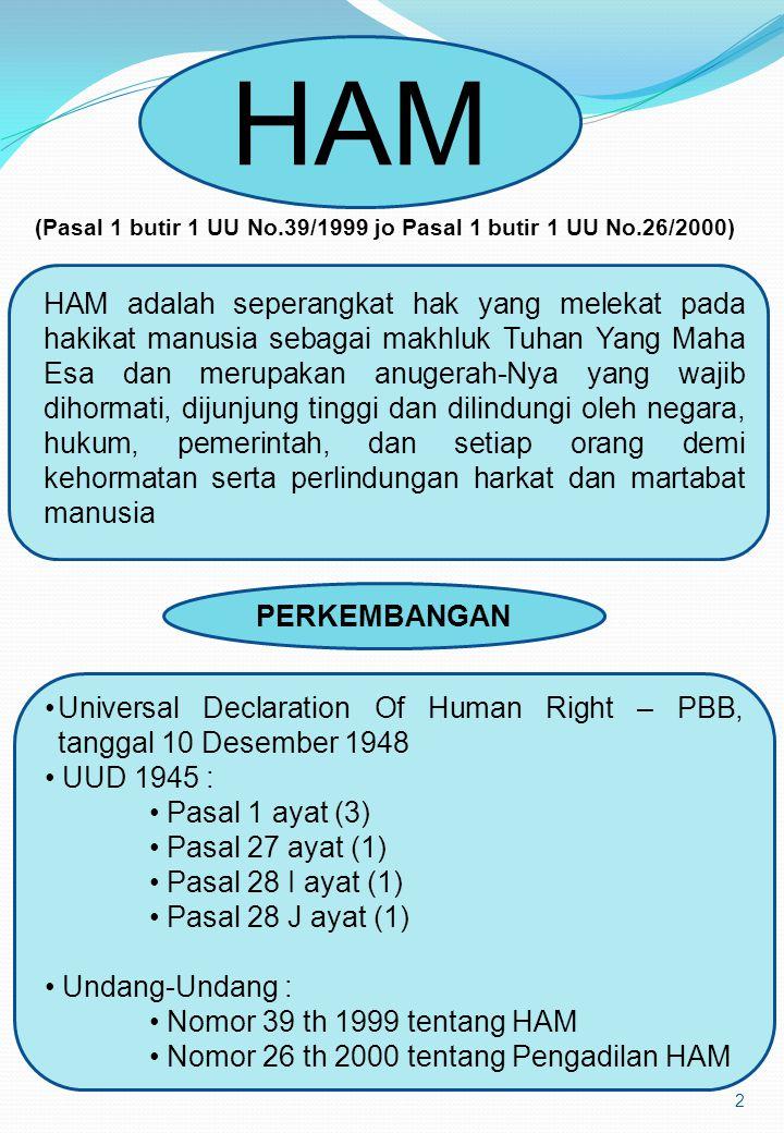 2 HAM HAM adalah seperangkat hak yang melekat pada hakikat manusia sebagai makhluk Tuhan Yang Maha Esa dan merupakan anugerah-Nya yang wajib dihormati, dijunjung tinggi dan dilindungi oleh negara, hukum, pemerintah, dan setiap orang demi kehormatan serta perlindungan harkat dan martabat manusia (Pasal 1 butir 1 UU No.39/1999 jo Pasal 1 butir 1 UU No.26/2000) PERKEMBANGAN Universal Declaration Of Human Right – PBB, tanggal 10 Desember 1948 UUD 1945 : Pasal 1 ayat (3) Pasal 27 ayat (1) Pasal 28 I ayat (1) Pasal 28 J ayat (1) Undang-Undang : Nomor 39 th 1999 tentang HAM Nomor 26 th 2000 tentang Pengadilan HAM