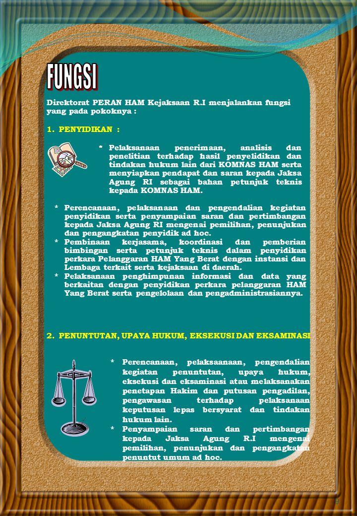 8 Menjadikan Direktorat Peran HAM Yang Berat Kejaksaan Agung Republik Indonesia sebagai Pusat rujukan dan penegakan keadilan dalam penanganan perkara