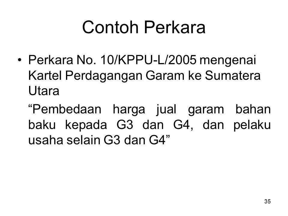 """Contoh Perkara Perkara No. 10/KPPU-L/2005 mengenai Kartel Perdagangan Garam ke Sumatera Utara """"Pembedaan harga jual garam bahan baku kepada G3 dan G4,"""