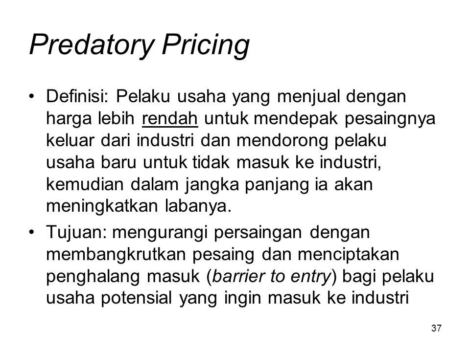 37 Predatory Pricing Definisi: Pelaku usaha yang menjual dengan harga lebih rendah untuk mendepak pesaingnya keluar dari industri dan mendorong pelaku