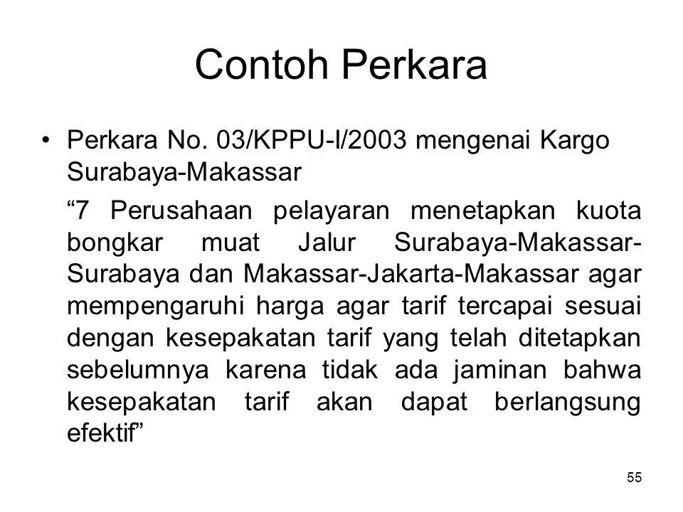 """Contoh Perkara Perkara No. 03/KPPU-I/2003 mengenai Kargo Surabaya-Makassar """"7 Perusahaan pelayaran menetapkan kuota bongkar muat Jalur Surabaya-Makass"""