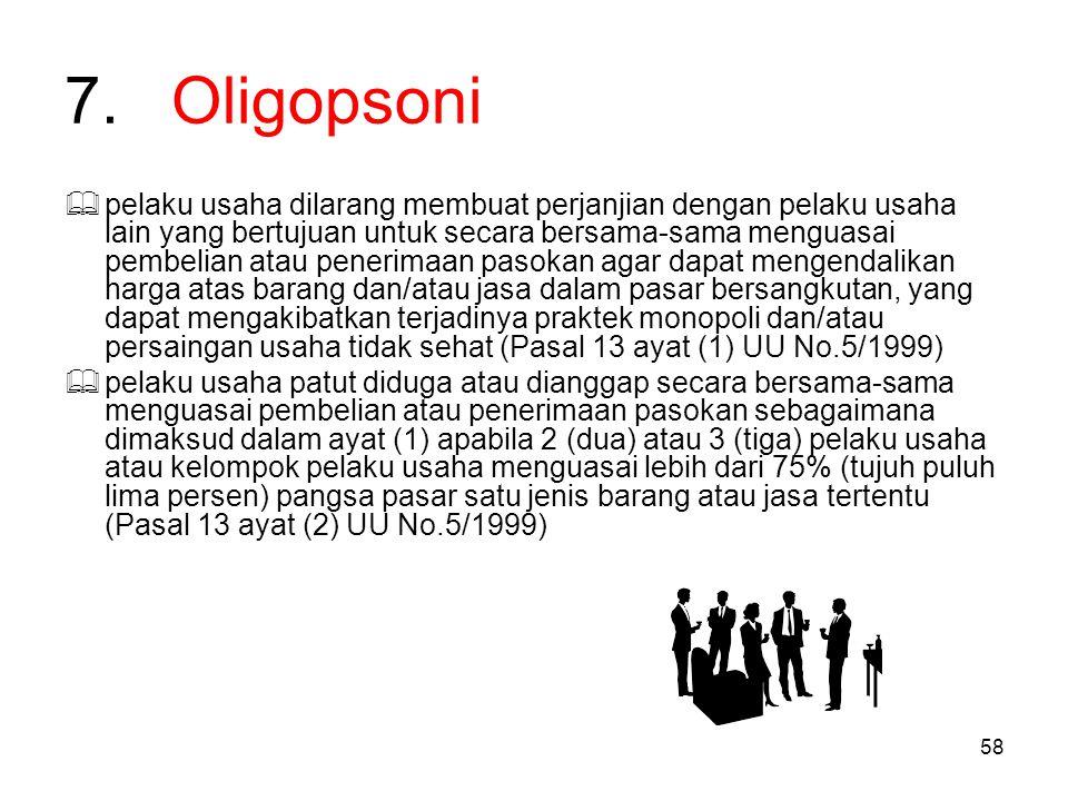 58 7.Oligopsoni  pelaku usaha dilarang membuat perjanjian dengan pelaku usaha lain yang bertujuan untuk secara bersama-sama menguasai pembelian atau