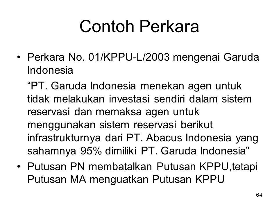 """Contoh Perkara Perkara No. 01/KPPU-L/2003 mengenai Garuda Indonesia """"PT. Garuda Indonesia menekan agen untuk tidak melakukan investasi sendiri dalam s"""