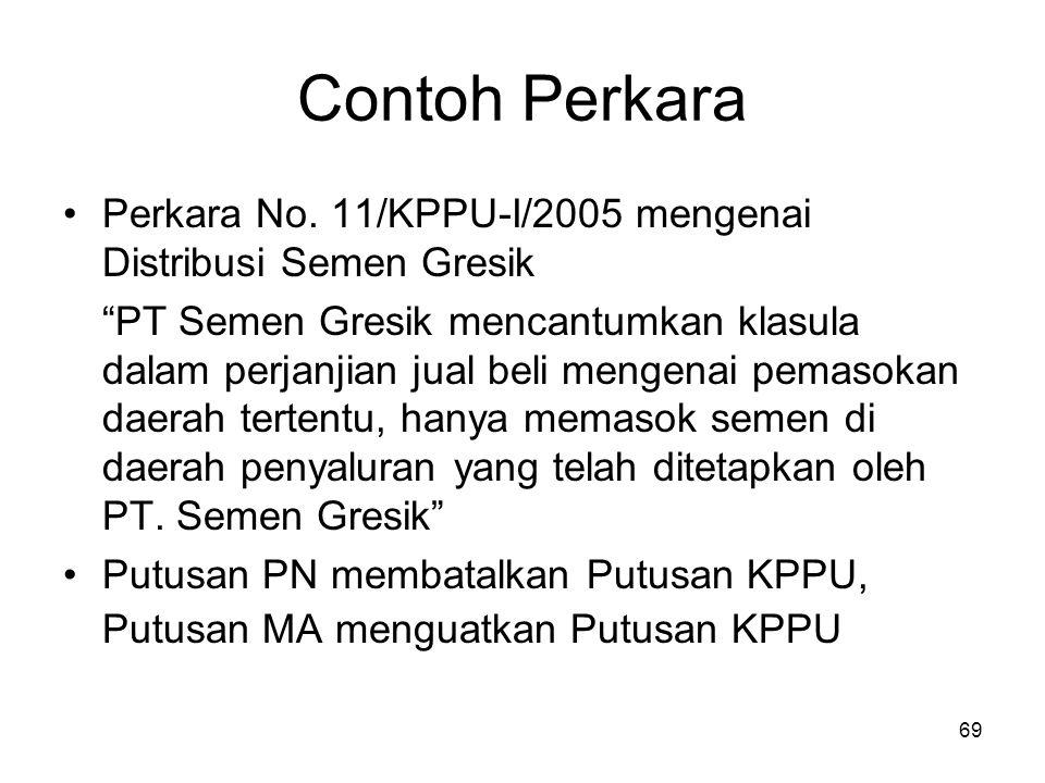 """Contoh Perkara Perkara No. 11/KPPU-I/2005 mengenai Distribusi Semen Gresik """"PT Semen Gresik mencantumkan klasula dalam perjanjian jual beli mengenai p"""