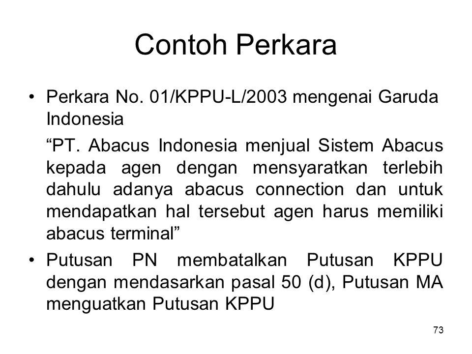 """Contoh Perkara Perkara No. 01/KPPU-L/2003 mengenai Garuda Indonesia """"PT. Abacus Indonesia menjual Sistem Abacus kepada agen dengan mensyaratkan terleb"""