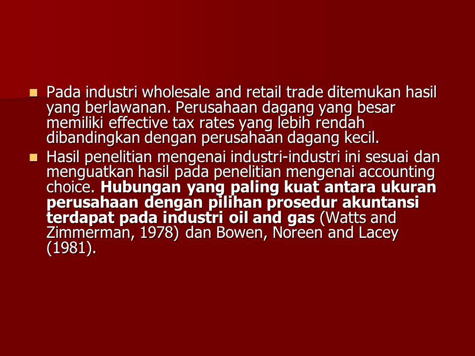 Pada industri wholesale and retail trade ditemukan hasil yang berlawanan. Perusahaan dagang yang besar memiliki effective tax rates yang lebih rendah