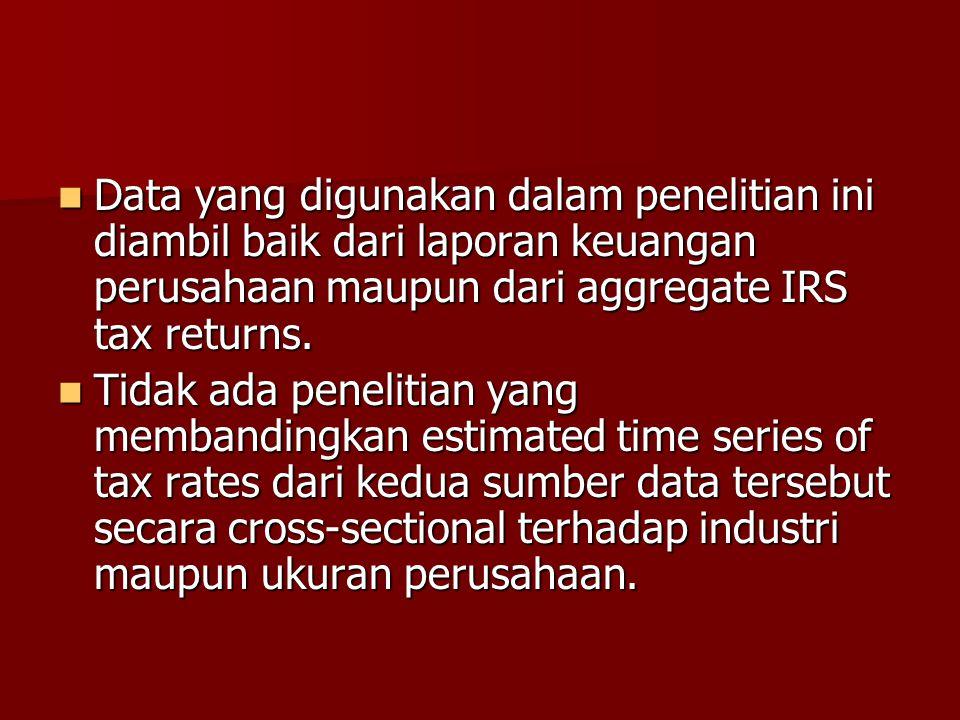 Data yang digunakan dalam penelitian ini diambil baik dari laporan keuangan perusahaan maupun dari aggregate IRS tax returns. Data yang digunakan dala