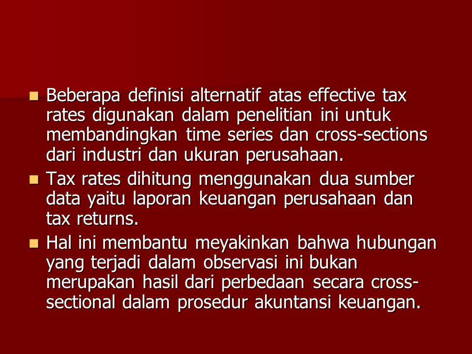 Beberapa definisi alternatif atas effective tax rates digunakan dalam penelitian ini untuk membandingkan time series dan cross-sections dari industri