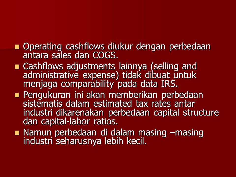 Operating cashflows diukur dengan perbedaan antara sales dan COGS. Operating cashflows diukur dengan perbedaan antara sales dan COGS. Cashflows adjust