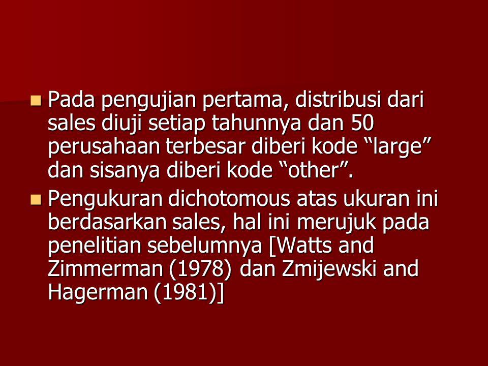 """Pada pengujian pertama, distribusi dari sales diuji setiap tahunnya dan 50 perusahaan terbesar diberi kode """"large"""" dan sisanya diberi kode """"other"""". Pa"""