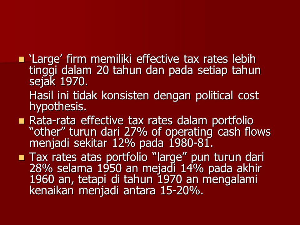 'Large' firm memiliki effective tax rates lebih tinggi dalam 20 tahun dan pada setiap tahun sejak 1970. 'Large' firm memiliki effective tax rates lebi