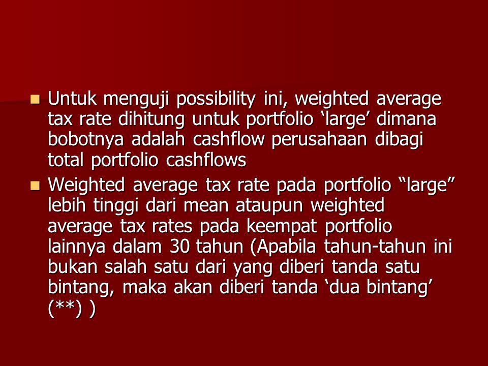 Untuk menguji possibility ini, weighted average tax rate dihitung untuk portfolio 'large' dimana bobotnya adalah cashflow perusahaan dibagi total port