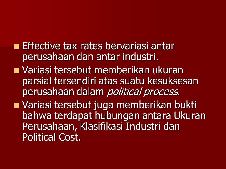 Effective tax rates bervariasi antar perusahaan dan antar industri. Effective tax rates bervariasi antar perusahaan dan antar industri. Variasi terseb