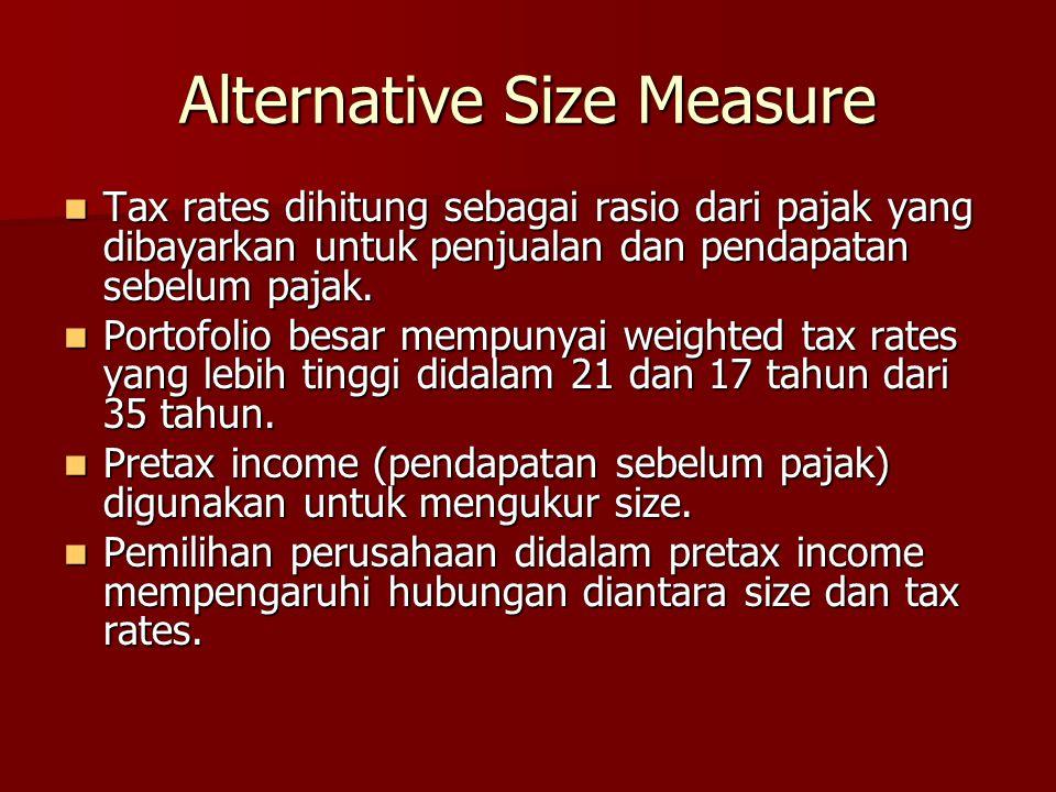 Alternative Size Measure Tax rates dihitung sebagai rasio dari pajak yang dibayarkan untuk penjualan dan pendapatan sebelum pajak. Tax rates dihitung