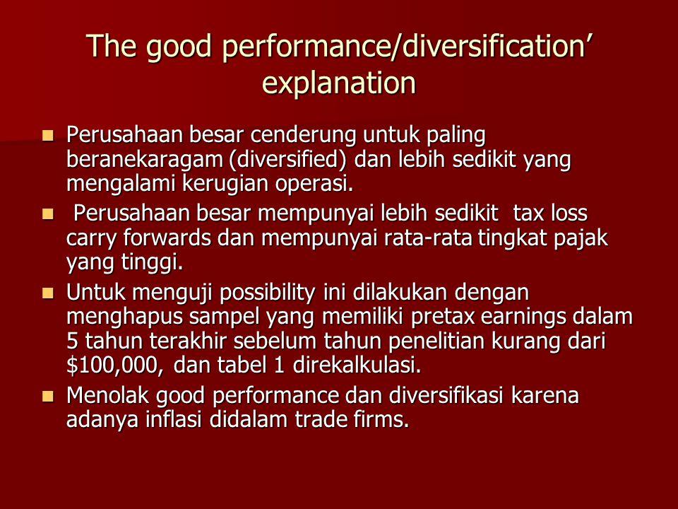 The good performance/diversification' explanation Perusahaan besar cenderung untuk paling beranekaragam (diversified) dan lebih sedikit yang mengalami