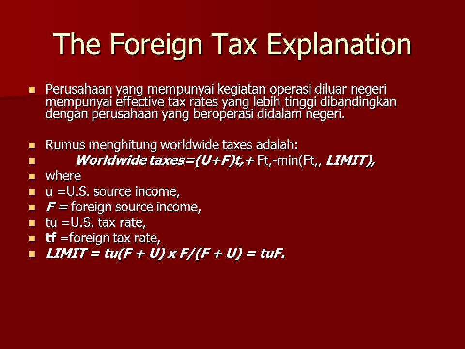 The Foreign Tax Explanation Perusahaan yang mempunyai kegiatan operasi diluar negeri mempunyai effective tax rates yang lebih tinggi dibandingkan deng