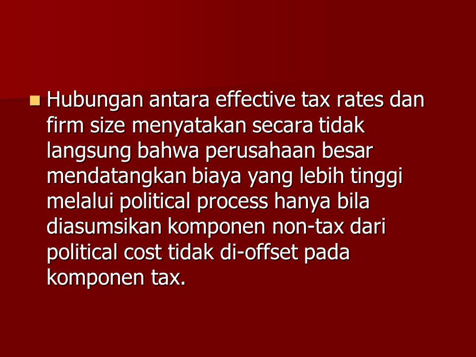 Hubungan antara effective tax rates dan firm size menyatakan secara tidak langsung bahwa perusahaan besar mendatangkan biaya yang lebih tinggi melalui