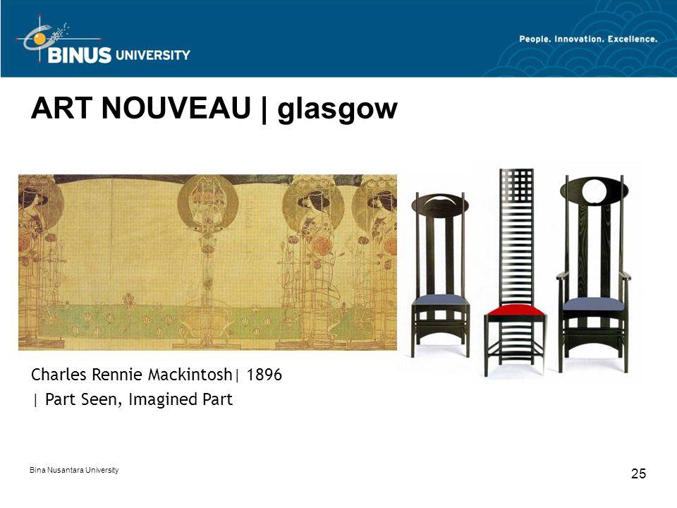 Bina Nusantara University 25 ART NOUVEAU | glasgow Charles Rennie Mackintosh| 1896 | Part Seen, Imagined Part