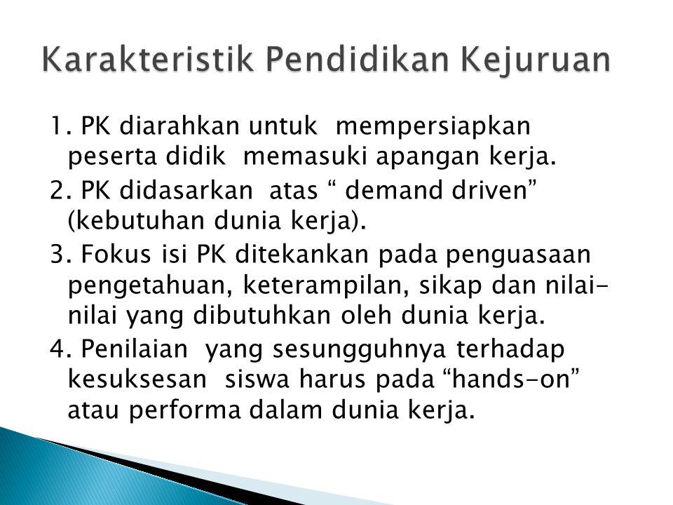 1. PK diarahkan untuk mempersiapkan peserta didik memasuki apangan kerja.
