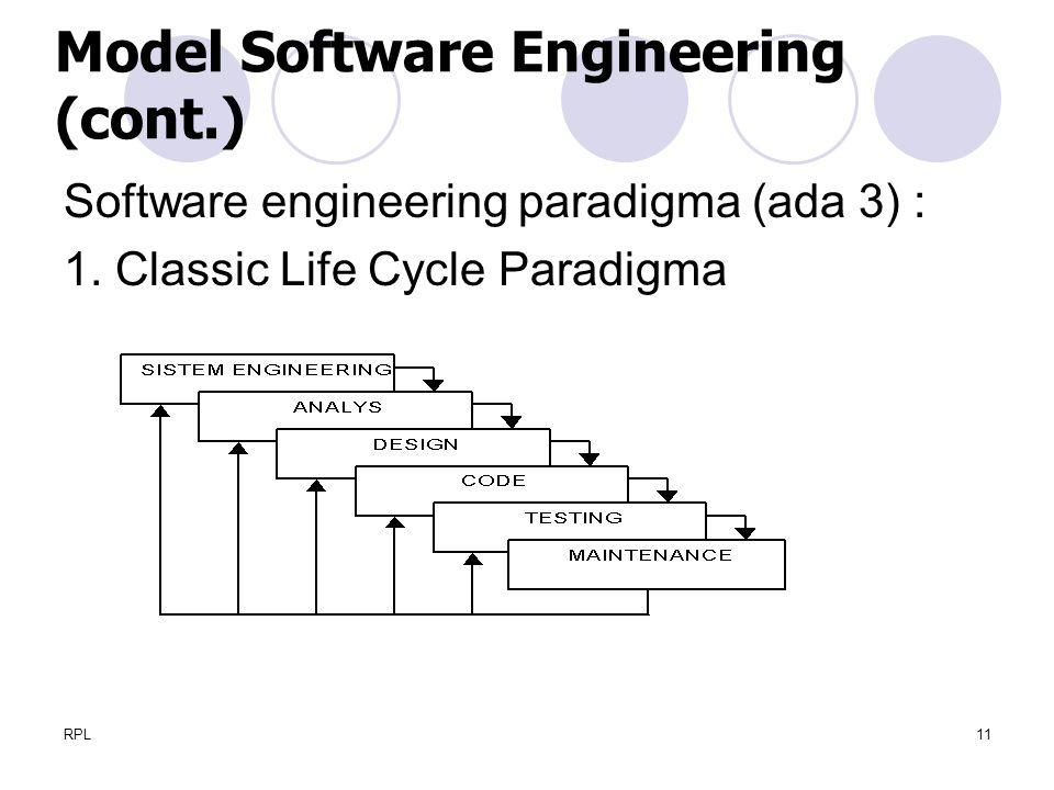 RPL11 Software engineering paradigma (ada 3) : 1. Classic Life Cycle Paradigma Model Software Engineering (cont.)