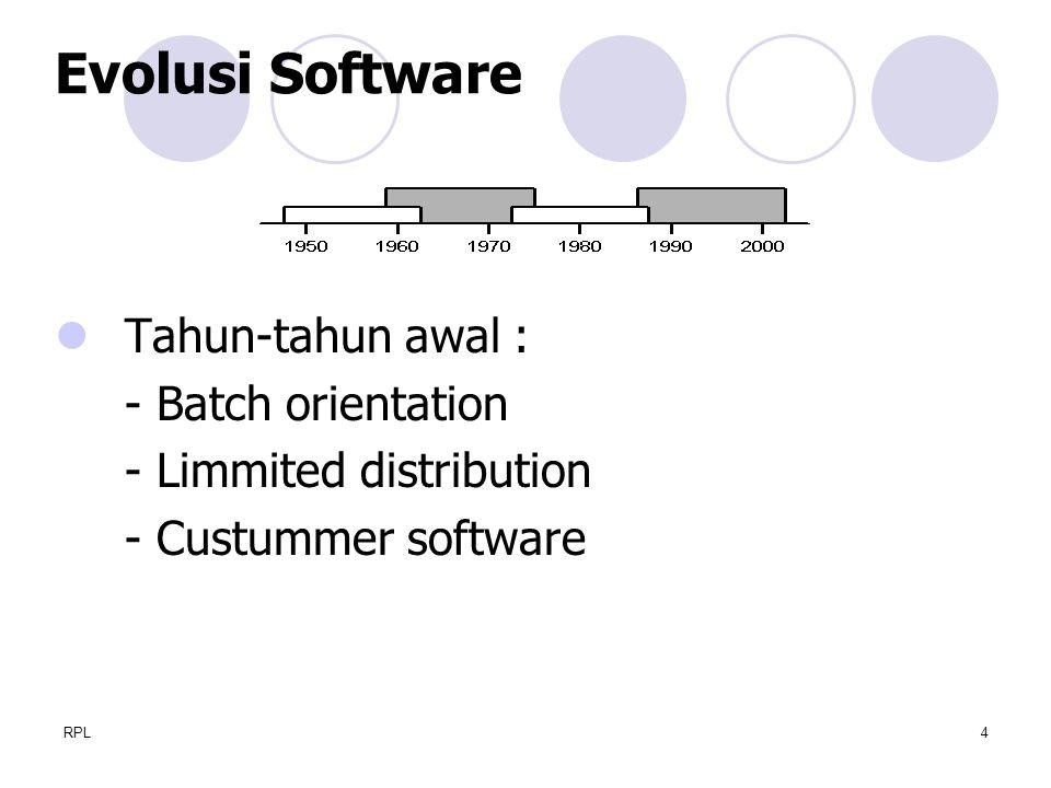 RPL5 Era ke-2 : Era ke-3 : - Multi user- Distibuted system - Real time- Embedded intellegence - Database - Low cost hardware - Consumer infact Era ke-4 : - Expert system - A I Machine - Parallel architecture Evolusi Software