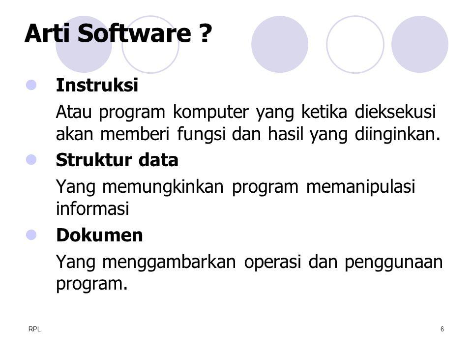 RPL6 Instruksi Atau program komputer yang ketika dieksekusi akan memberi fungsi dan hasil yang diinginkan. Struktur data Yang memungkinkan program mem
