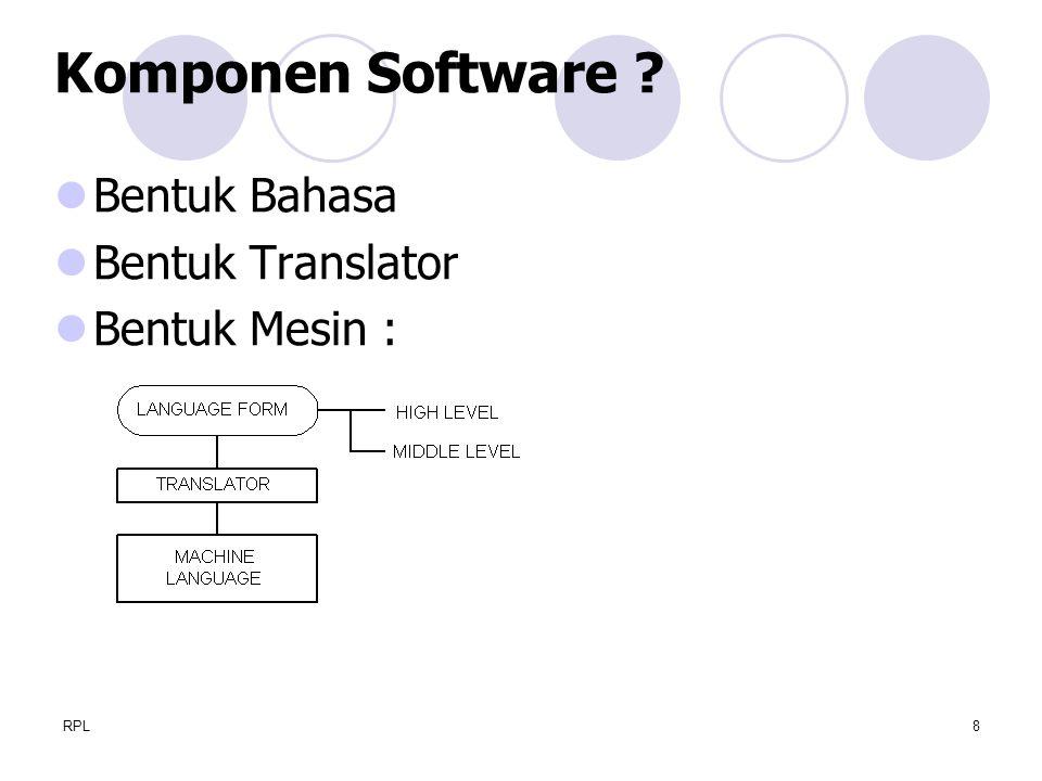 RPL8 Bentuk Bahasa Bentuk Translator Bentuk Mesin : Komponen Software ?