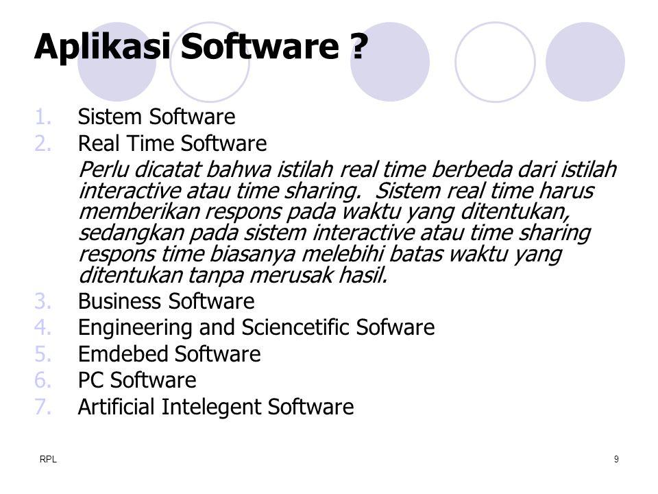 RPL9 1.Sistem Software 2.Real Time Software Perlu dicatat bahwa istilah real time berbeda dari istilah interactive atau time sharing. Sistem real time