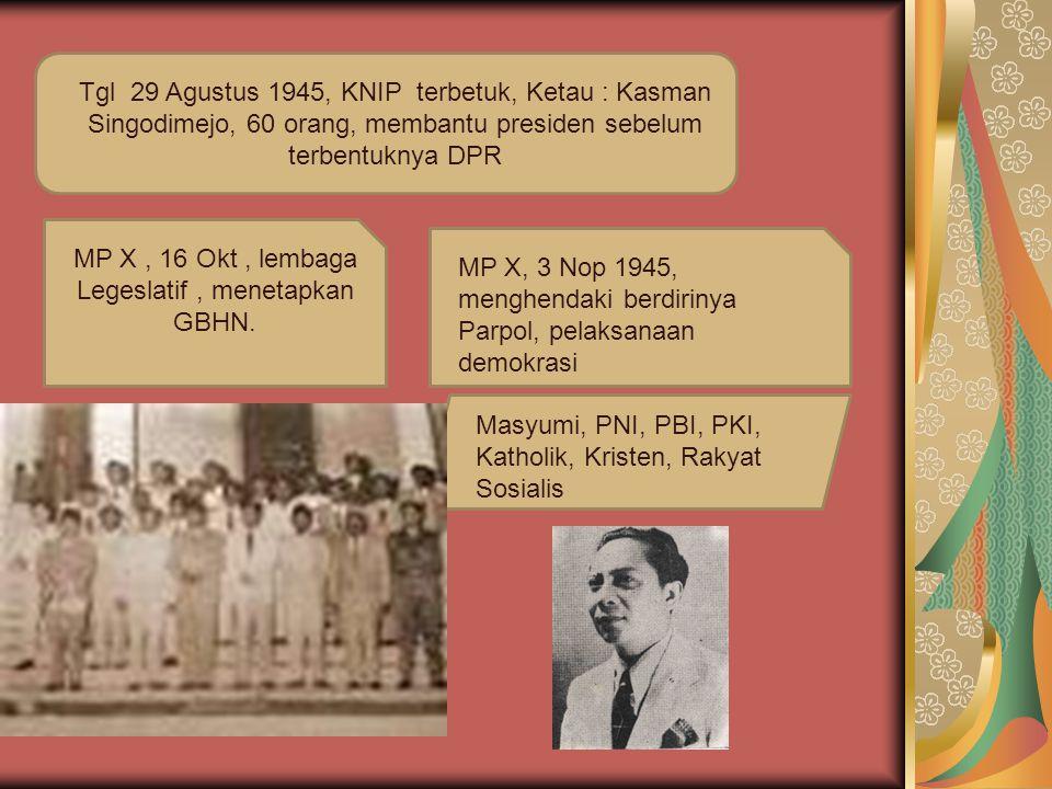 Tgl 29 Agustus 1945, KNIP terbetuk, Ketau : Kasman Singodimejo, 60 orang, membantu presiden sebelum terbentuknya DPR MP X, 16 Okt, lembaga Legeslatif,