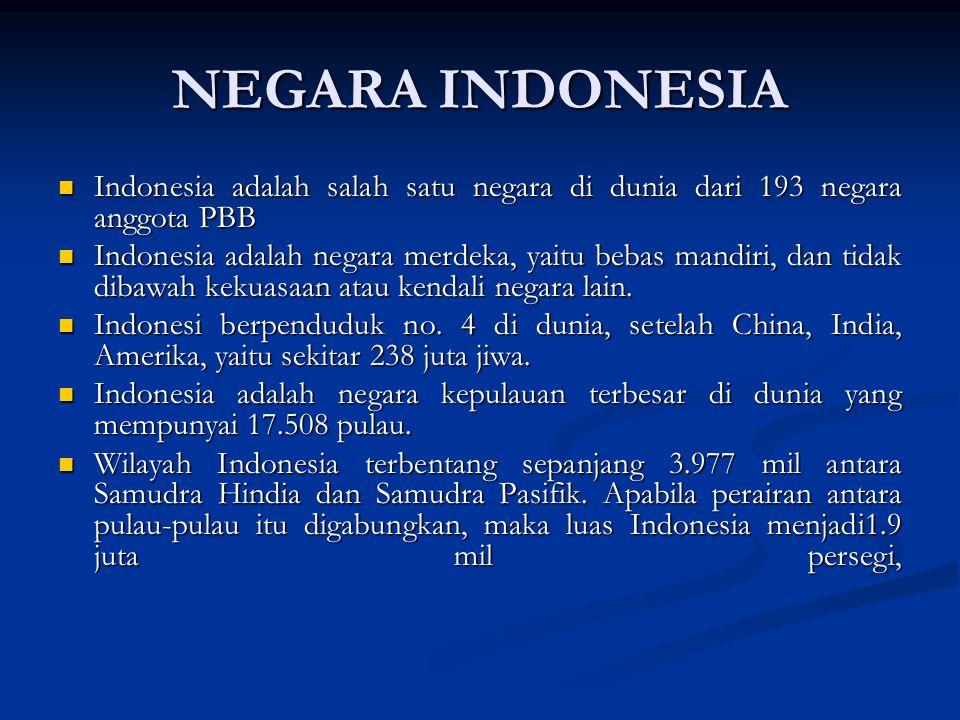 NEGARA INDONESIA Indonesia adalah salah satu negara di dunia dari 193 negara anggota PBB Indonesia adalah salah satu negara di dunia dari 193 negara anggota PBB Indonesia adalah negara merdeka, yaitu bebas mandiri, dan tidak dibawah kekuasaan atau kendali negara lain.
