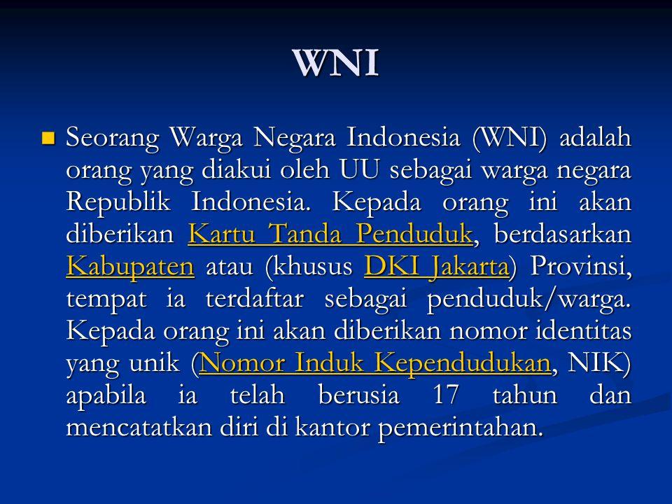 WNI Seorang Warga Negara Indonesia (WNI) adalah orang yang diakui oleh UU sebagai warga negara Republik Indonesia.