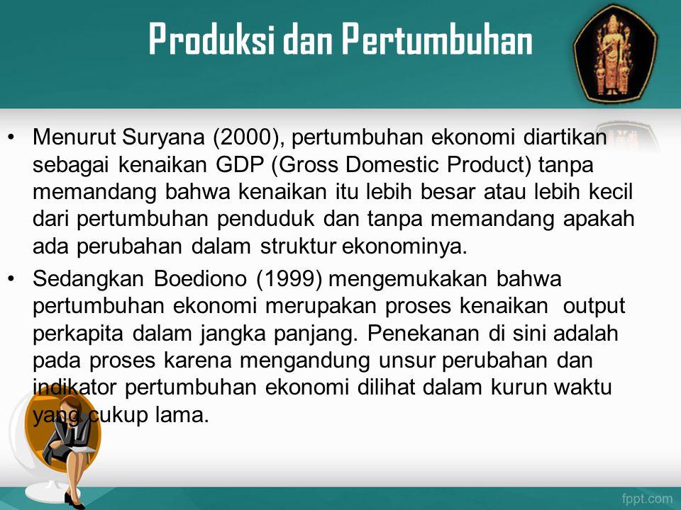 Produksi dan Pertumbuhan Menurut Suryana (2000), pertumbuhan ekonomi diartikan sebagai kenaikan GDP (Gross Domestic Product) tanpa memandang bahwa ken