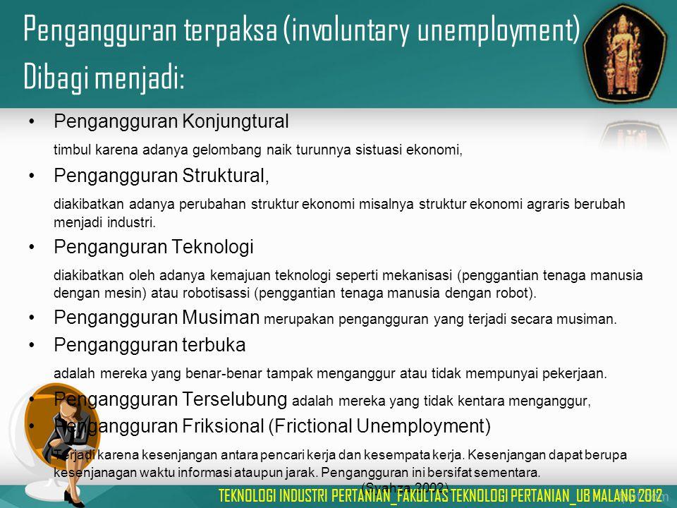 Pengangguran terpaksa (involuntary unemployment) Dibagi menjadi: Pengangguran Konjungtural timbul karena adanya gelombang naik turunnya sistuasi ekono