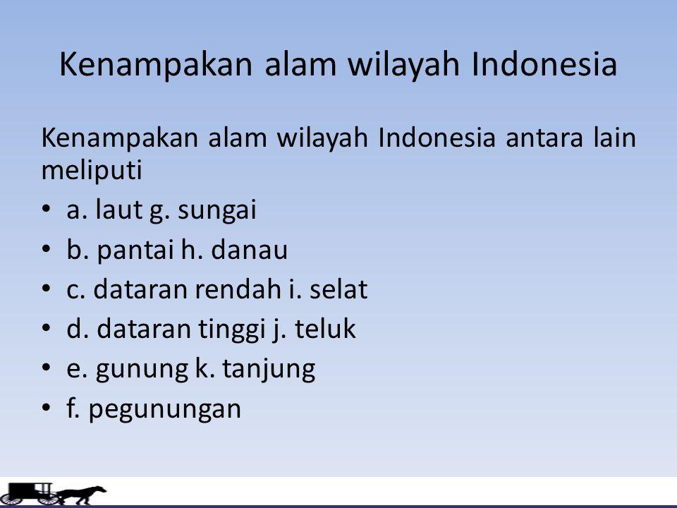 Kenampakan alam wilayah Indonesia Kenampakan alam wilayah Indonesia antara lain meliputi a. laut g. sungai b. pantai h. danau c. dataran rendah i. sel