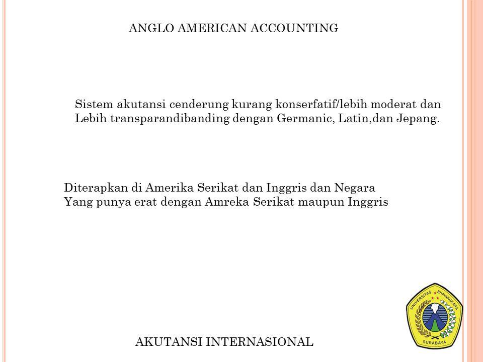 ANGLO AMERICAN ACCOUNTING Sistem akutansi cenderung kurang konserfatif/lebih moderat dan Lebih transparandibanding dengan Germanic, Latin,dan Jepang.