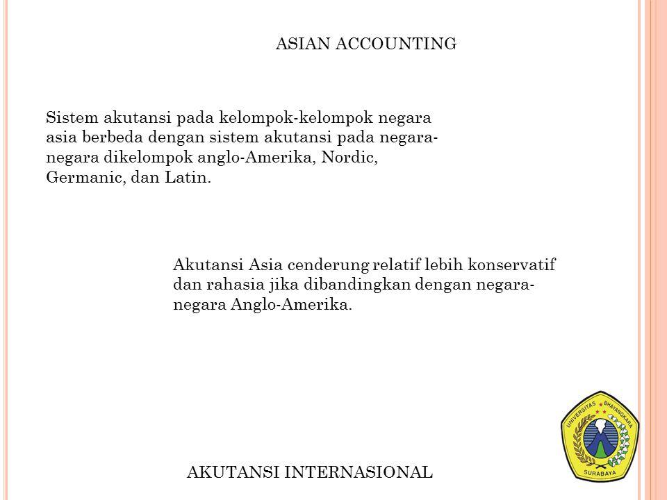 ASIAN ACCOUNTING Sistem akutansi pada kelompok-kelompok negara asia berbeda dengan sistem akutansi pada negara- negara dikelompok anglo-Amerika, Nordi