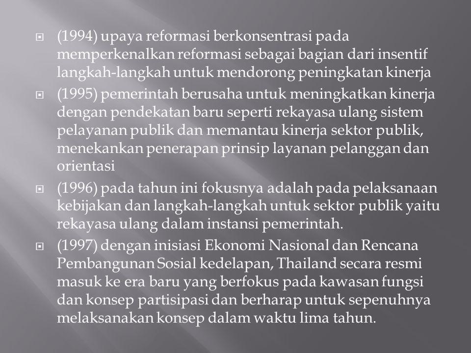 (1994) upaya reformasi berkonsentrasi pada memperkenalkan reformasi sebagai bagian dari insentif langkah-langkah untuk mendorong peningkatan kinerja  (1995) pemerintah berusaha untuk meningkatkan kinerja dengan pendekatan baru seperti rekayasa ulang sistem pelayanan publik dan memantau kinerja sektor publik, menekankan penerapan prinsip layanan pelanggan dan orientasi  (1996) pada tahun ini fokusnya adalah pada pelaksanaan kebijakan dan langkah-langkah untuk sektor publik yaitu rekayasa ulang dalam instansi pemerintah.