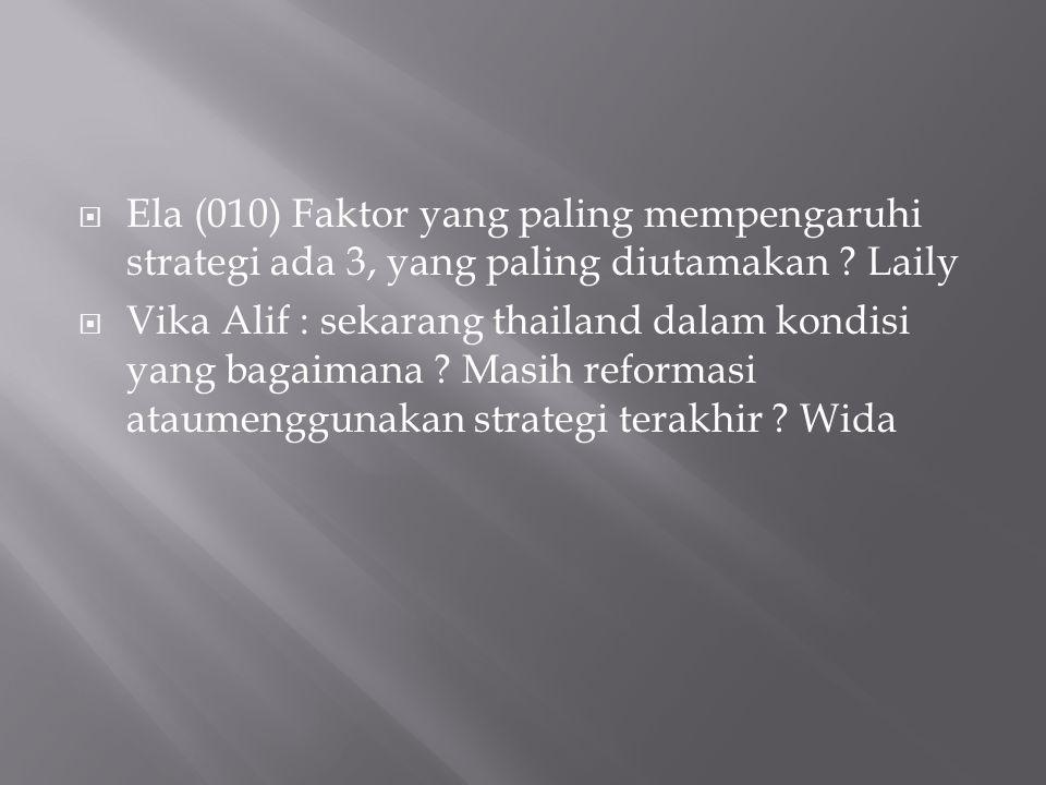  Ela (010) Faktor yang paling mempengaruhi strategi ada 3, yang paling diutamakan .