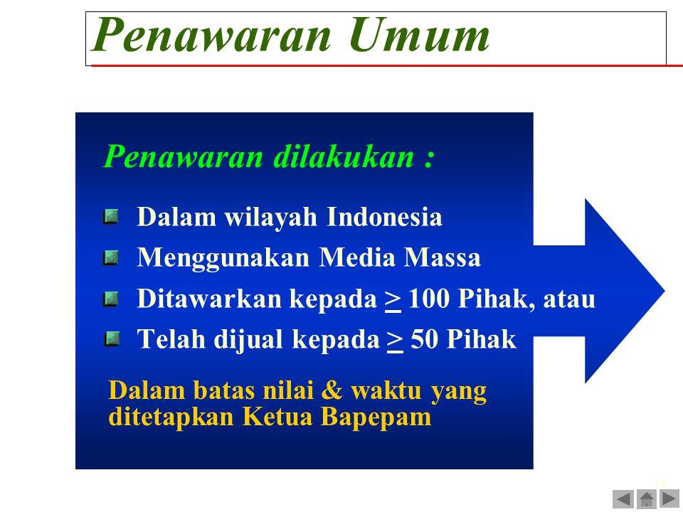 16 Penawaran Umum Dalam wilayah Indonesia Menggunakan Media Massa Ditawarkan kepada > 100 Pihak, atau Telah dijual kepada > 50 Pihak Penawaran dilakuk