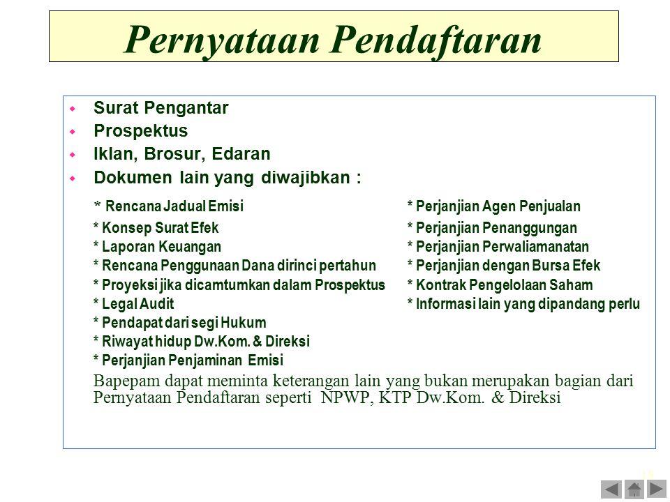 18 Pernyataan Pendaftaran w Surat Pengantar w Prospektus w Iklan, Brosur, Edaran w Dokumen lain yang diwajibkan : * Rencana Jadual Emisi* Perjanjian A