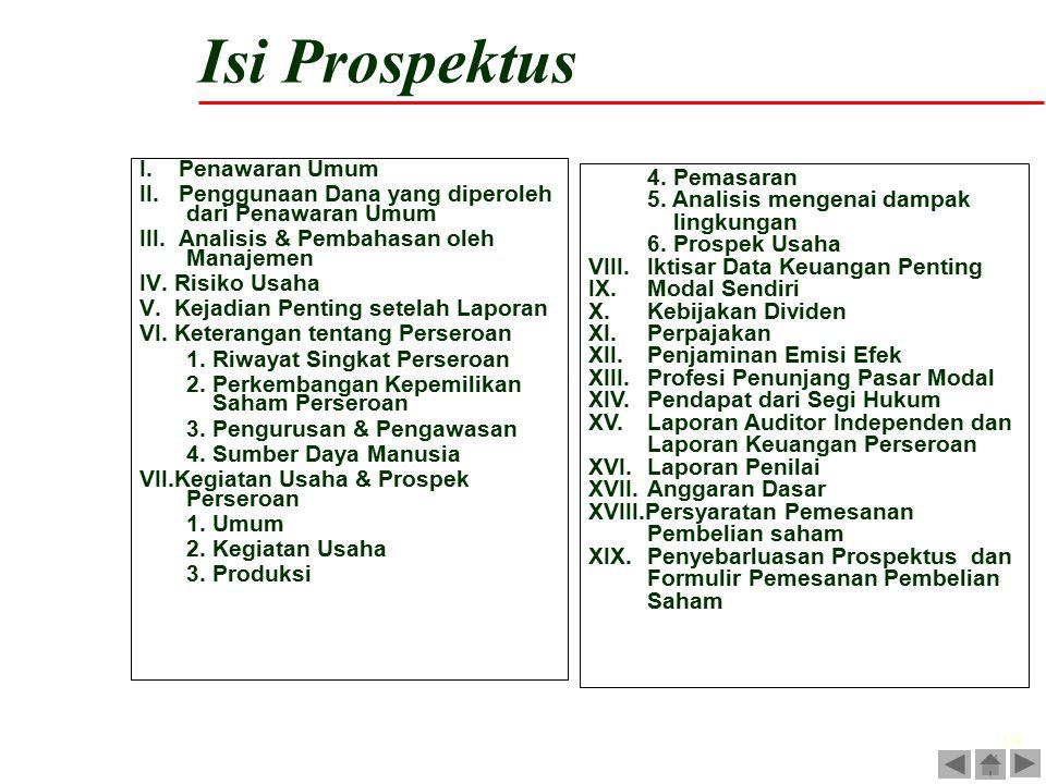 19 I. Penawaran Umum II. Penggunaan Dana yang diperoleh dari Penawaran Umum III. Analisis & Pembahasan oleh Manajemen IV. Risiko Usaha V. Kejadian Pen
