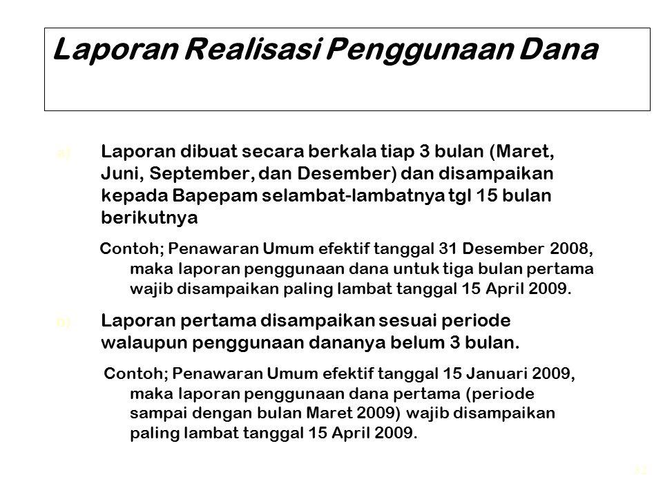 32 Laporan Realisasi Penggunaan Dana a) Laporan dibuat secara berkala tiap 3 bulan (Maret, Juni, September, dan Desember) dan disampaikan kepada Bapep