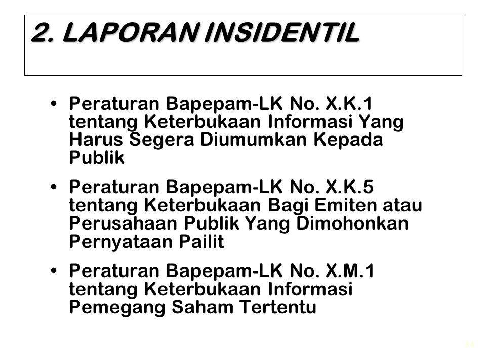 34 2. LAPORAN INSIDENTIL Peraturan Bapepam-LK No. X.K.1 tentang Keterbukaan Informasi Yang Harus Segera Diumumkan Kepada Publik Peraturan Bapepam-LK N