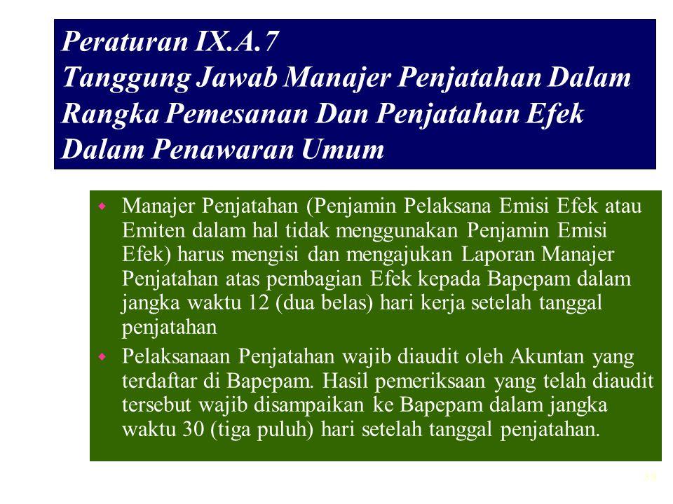 38 Peraturan IX.A.7 Tanggung Jawab Manajer Penjatahan Dalam Rangka Pemesanan Dan Penjatahan Efek Dalam Penawaran Umum w Manajer Penjatahan (Penjamin P